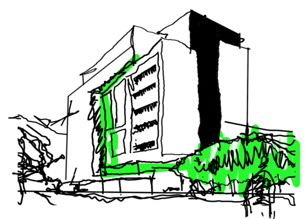 Croquis fundamento del proyecto Ñuñoa Design